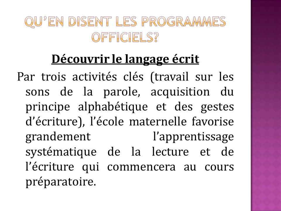 Découvrir le langage écrit Par trois activités clés (travail sur les sons de la parole, acquisition du principe alphabétique et des gestes décriture),