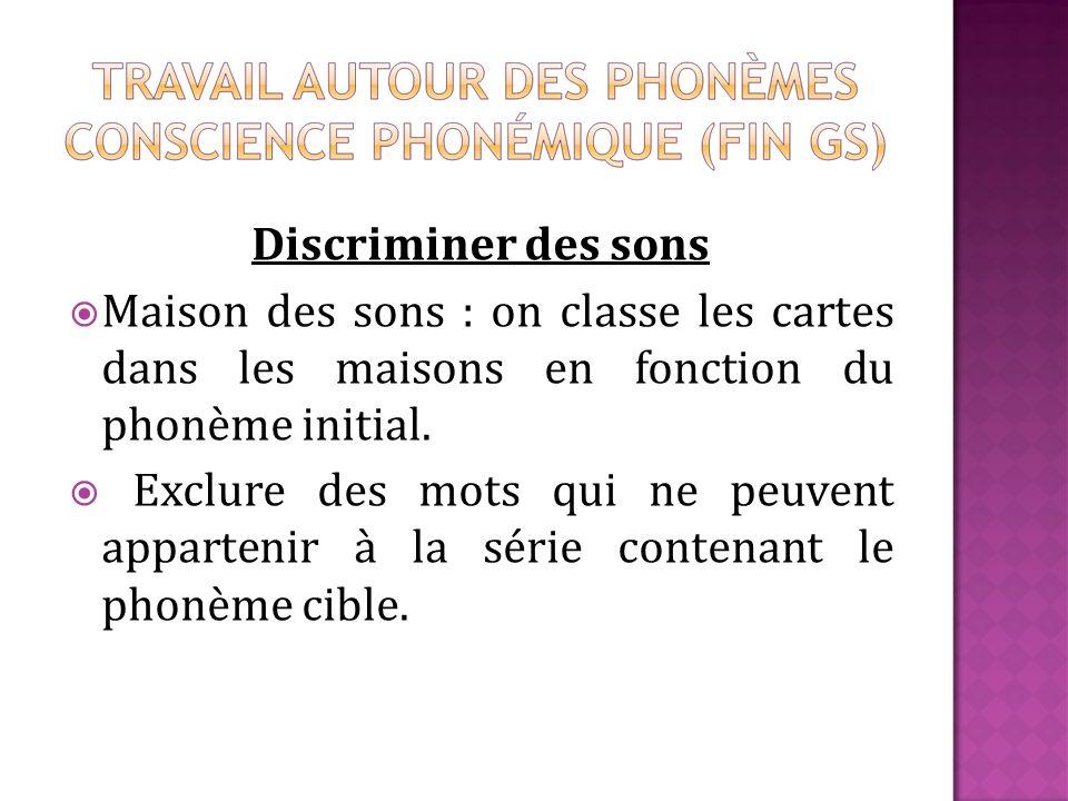 Discriminer des sons Maison des sons : on classe les cartes dans les maisons en fonction du phonème initial.