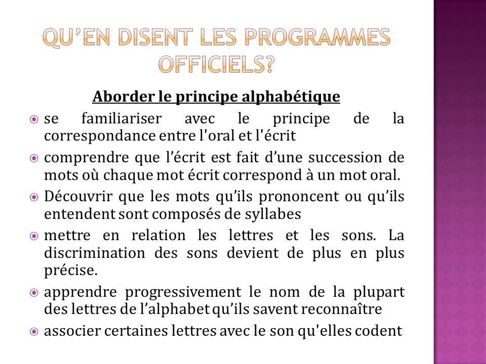 Aborder le principe alphabétique se familiariser avec le principe de la correspondance entre l'oral et l'écrit comprendre que lécrit est fait dune suc