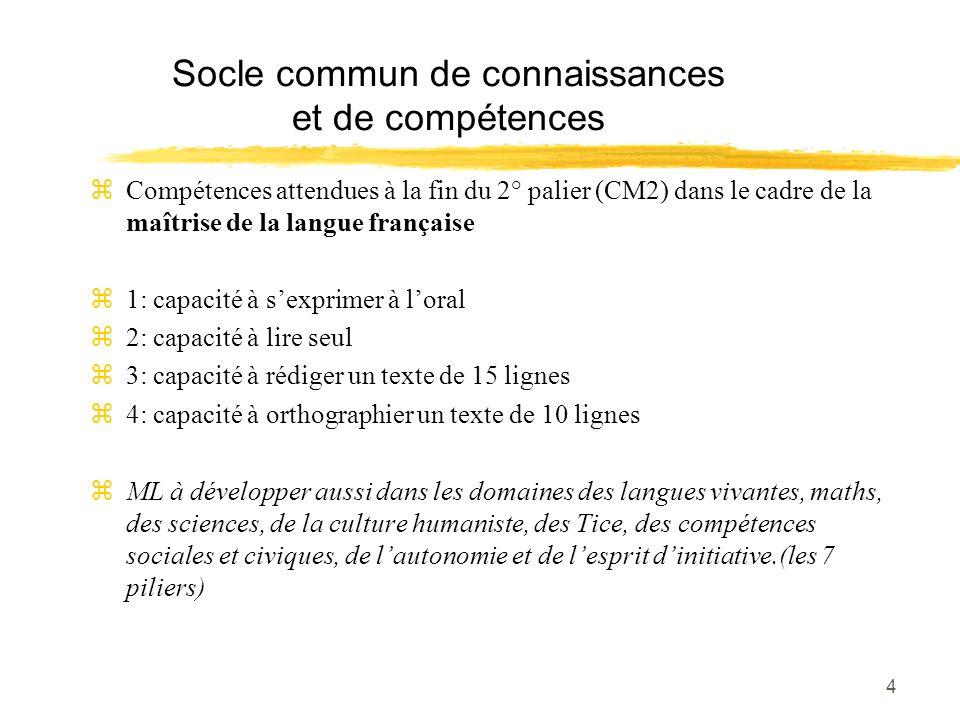 4 Socle commun de connaissances et de compétences zCompétences attendues à la fin du 2° palier (CM2) dans le cadre de la maîtrise de la langue françai