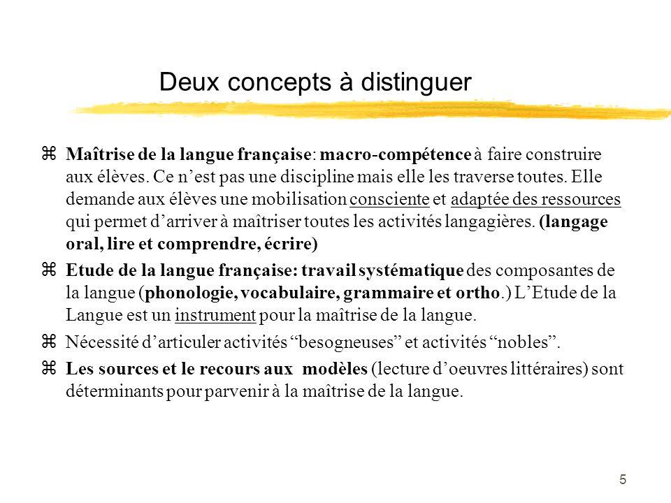 5 Deux concepts à distinguer zMaîtrise de la langue française: macro-compétence à faire construire aux élèves. Ce nest pas une discipline mais elle le