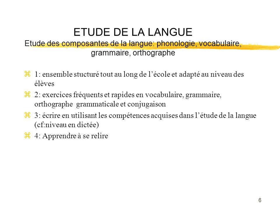 6 ETUDE DE LA LANGUE Etude des composantes de la langue: phonologie, vocabulaire, grammaire, orthographe z1: ensemble stucturé tout au long de lécole