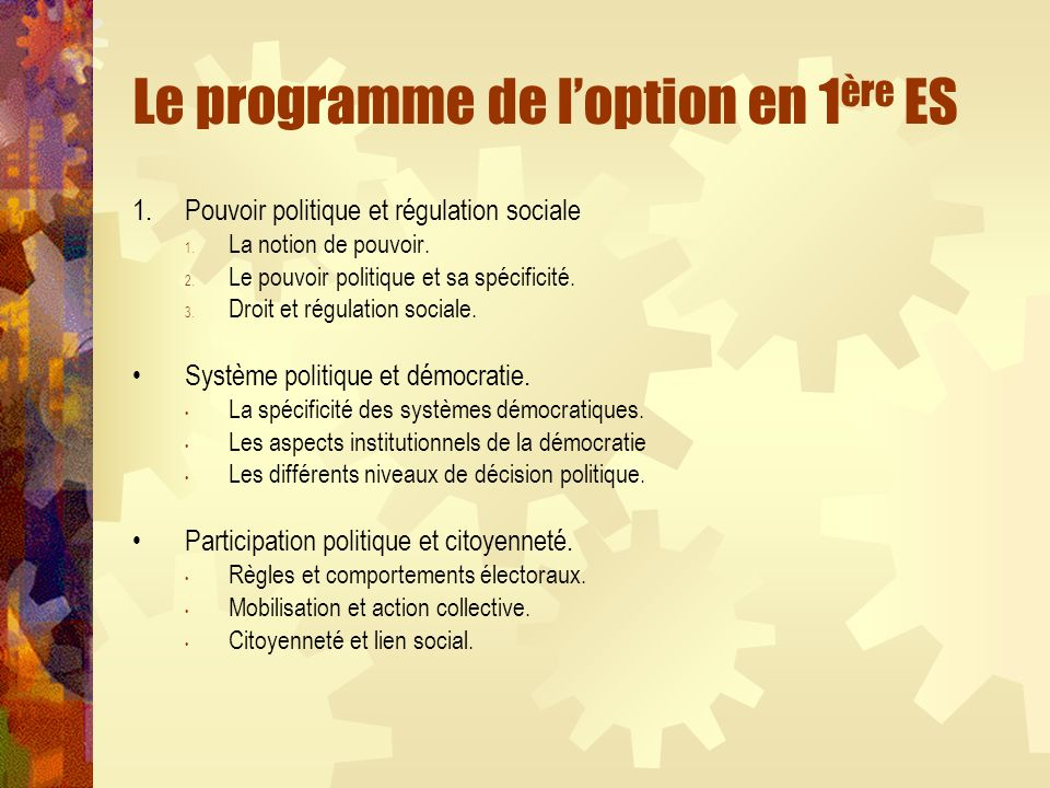 Le programme de loption en 1 ère ES 1.Pouvoir politique et régulation sociale 1. La notion de pouvoir. 2. Le pouvoir politique et sa spécificité. 3. D