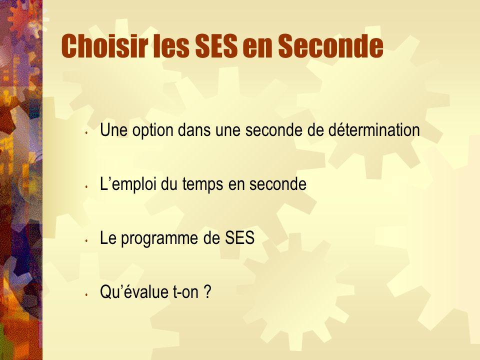 Choisir les SES en Seconde Une option dans une seconde de détermination Lemploi du temps en seconde Le programme de SES Quévalue t-on ?