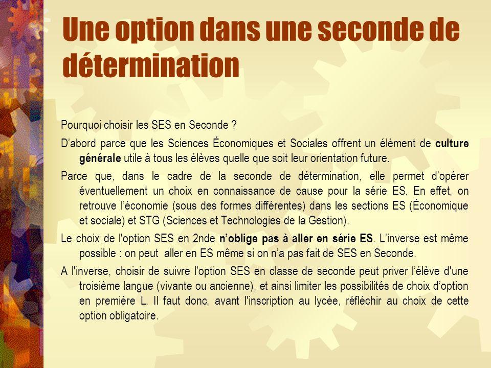 Une option dans une seconde de détermination Pourquoi choisir les SES en Seconde ? Dabord parce que les Sciences Économiques et Sociales offrent un él