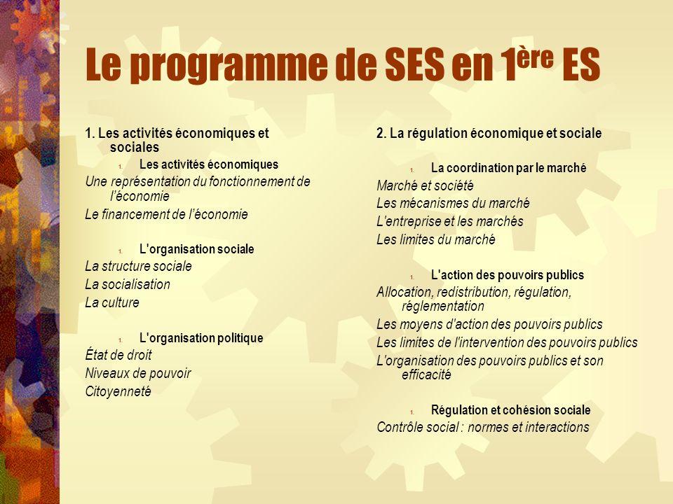 Le programme de SES en 1 ère ES 1. Les activités économiques et sociales 1. Les activités économiques Une représentation du fonctionnement de léconomi