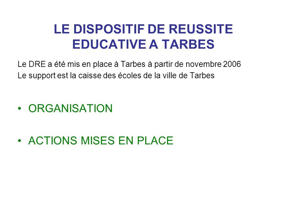 LE DISPOSITIF DE REUSSITE EDUCATIVE A TARBES Le DRE a été mis en place à Tarbes à partir de novembre 2006 Le support est la caisse des écoles de la vi