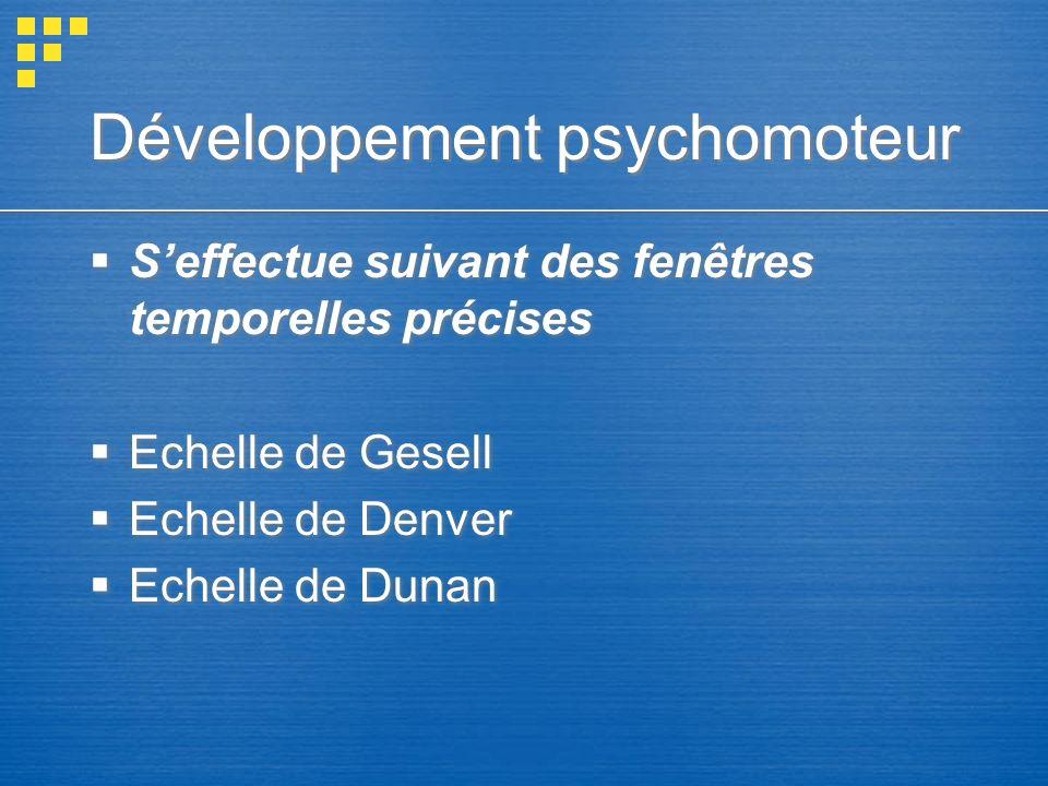 Développement psychomoteur Seffectue suivant des fenêtres temporelles précises Echelle de Gesell Echelle de Denver Echelle de Dunan Seffectue suivant