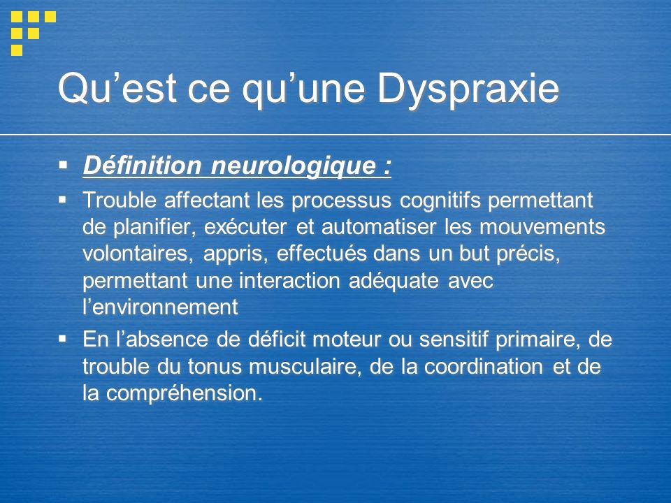 Quest ce quune Dyspraxie Définition neurologique : Trouble affectant les processus cognitifs permettant de planifier, exécuter et automatiser les mouv