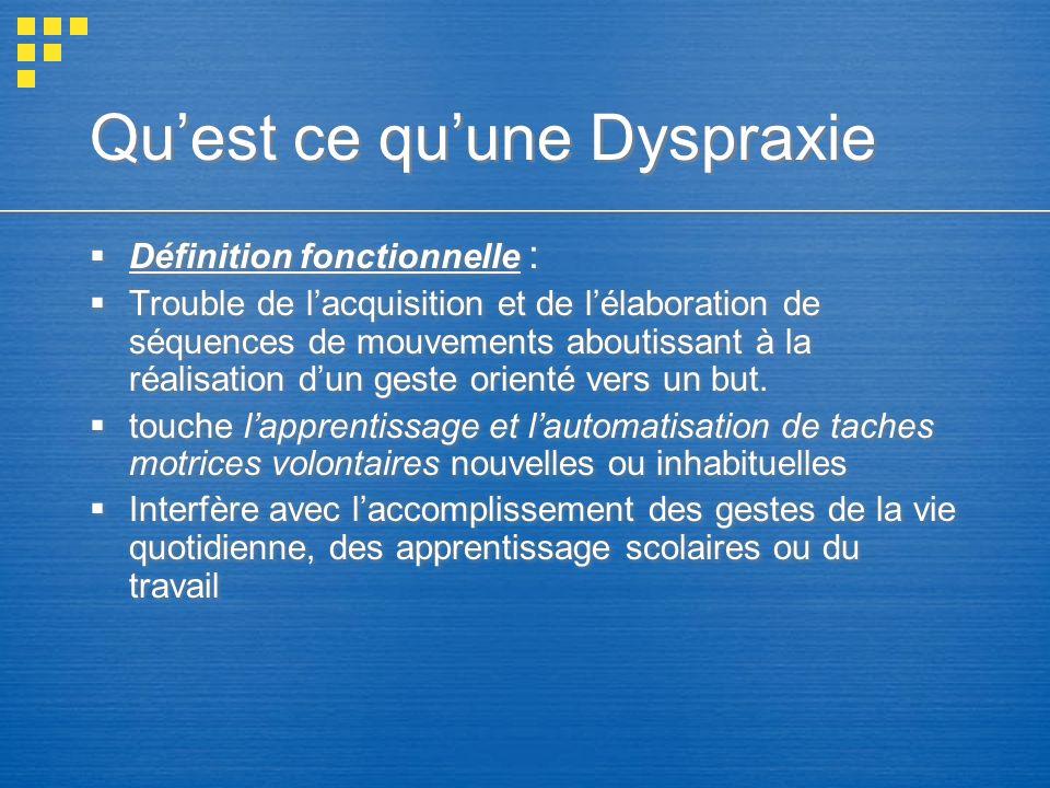 Quest ce quune Dyspraxie Définition fonctionnelle : Trouble de lacquisition et de lélaboration de séquences de mouvements aboutissant à la réalisation