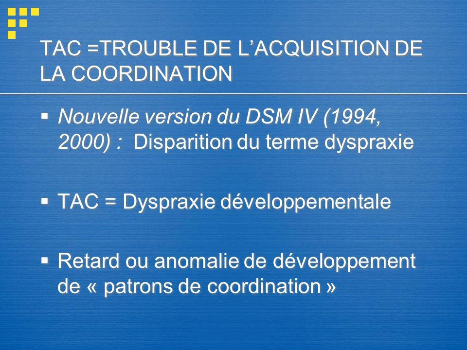 TAC =TROUBLE DE LACQUISITION DE LA COORDINATION Nouvelle version du DSM IV (1994, 2000) : Disparition du terme dyspraxie TAC = Dyspraxie développement