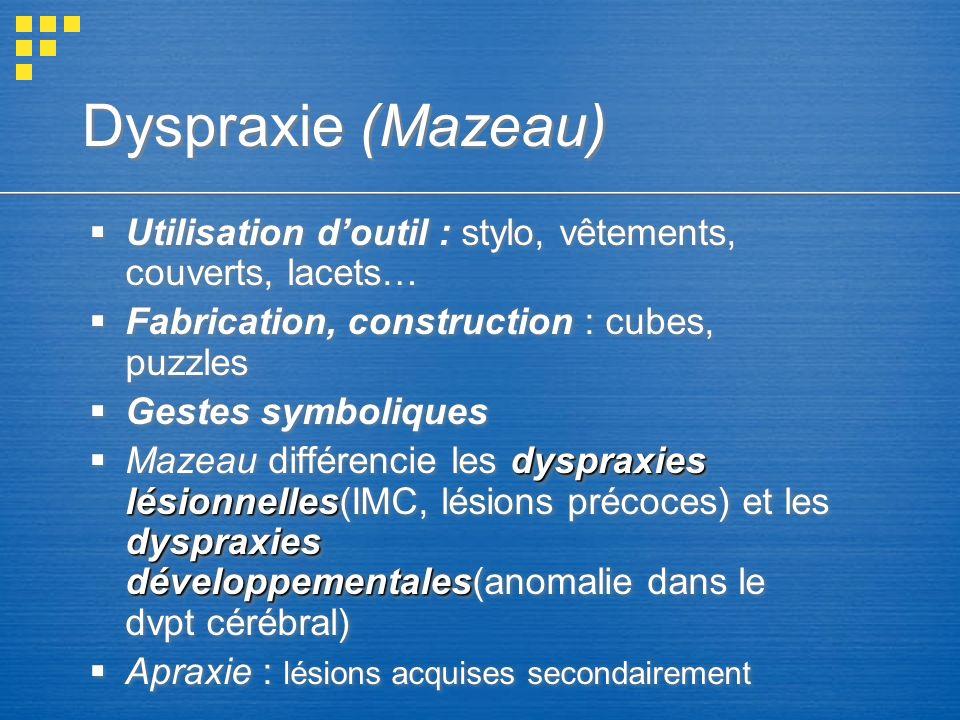 Dyspraxie (Mazeau) Utilisation doutil : stylo, vêtements, couverts, lacets… Fabrication, construction : cubes, puzzles Gestes symboliques dyspraxies l
