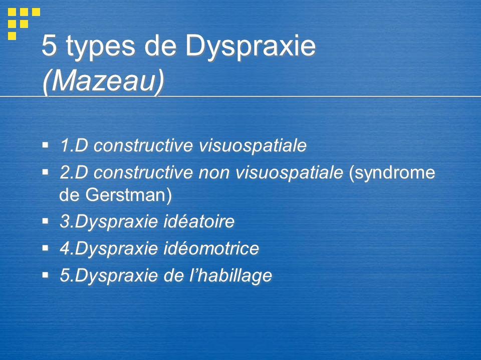 5 types de Dyspraxie (Mazeau) 1.D constructive visuospatiale 2.D constructive non visuospatiale (syndrome de Gerstman) 3.Dyspraxie idéatoire 4.Dysprax