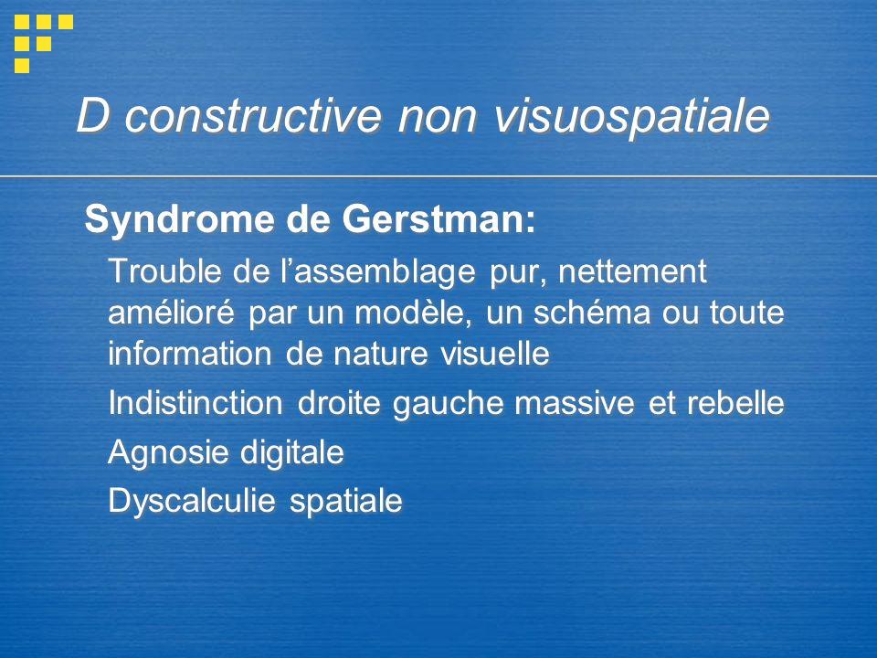 D constructive non visuospatiale Syndrome de Gerstman: Trouble de lassemblage pur, nettement amélioré par un modèle, un schéma ou toute information de