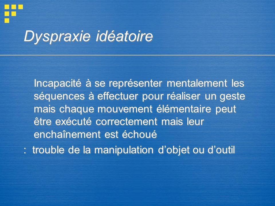 Dyspraxie idéatoire Incapacité à se représenter mentalement les séquences à effectuer pour réaliser un geste mais chaque mouvement élémentaire peut êt