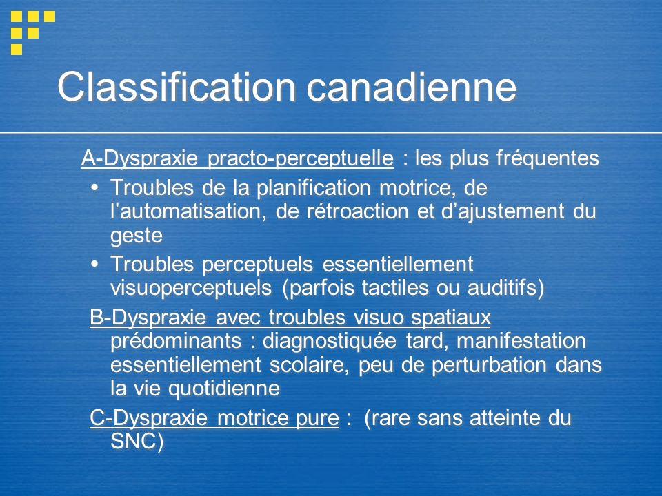 Classification canadienne A-Dyspraxie practo-perceptuelle : les plus fréquentes Troubles de la planification motrice, de lautomatisation, de rétroacti