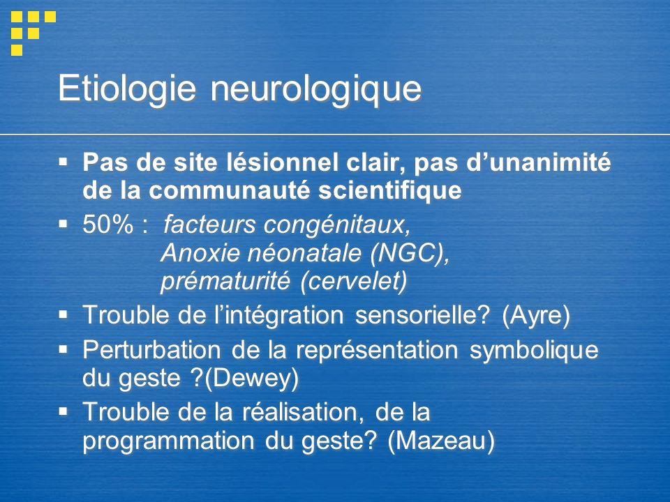 Etiologie neurologique Pas de site lésionnel clair, pas dunanimité de la communauté scientifique 50% : facteurs congénitaux, Anoxie néonatale (NGC), p