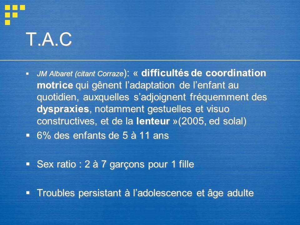 T.A.C JM Albaret (citant Corraze ): « difficultés de coordination motrice qui gênent ladaptation de lenfant au quotidien, auxquelles sadjoignent fréqu