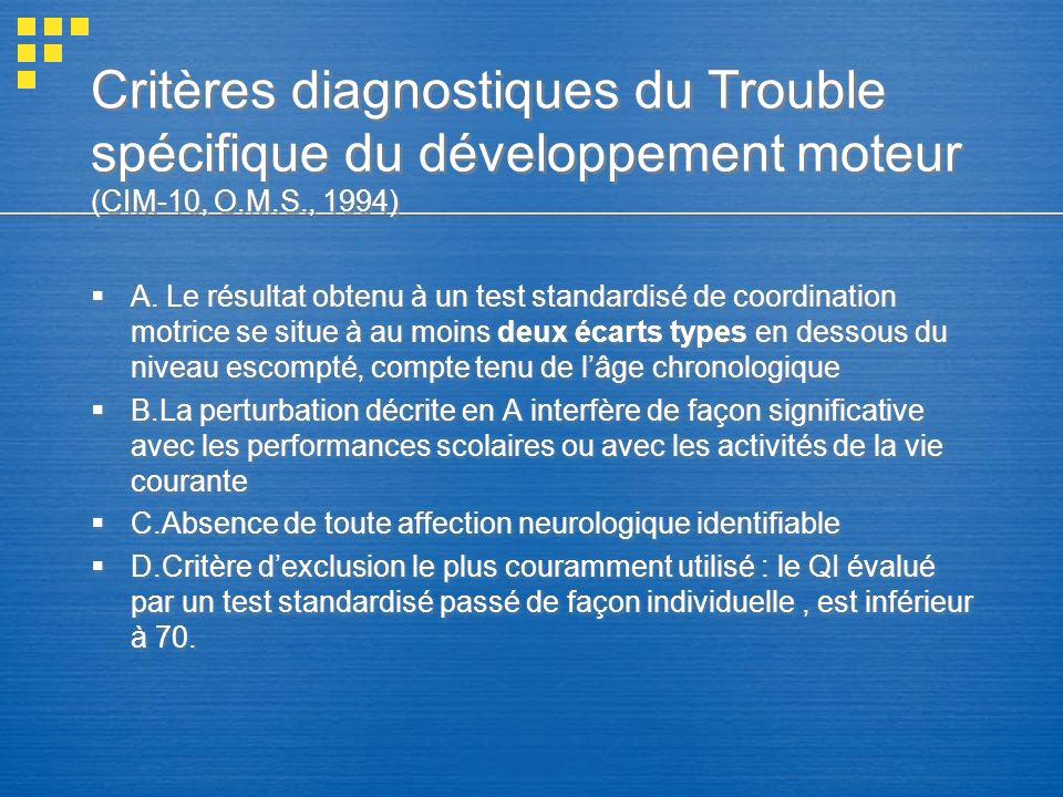 Critères diagnostiques du Trouble spécifique du développement moteur (CIM-10, O.M.S., 1994) A. Le résultat obtenu à un test standardisé de coordinatio