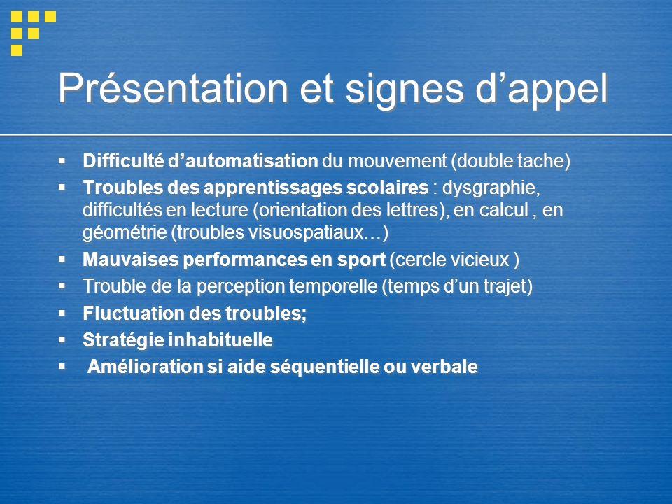 Présentation et signes dappel Difficulté dautomatisation du mouvement (double tache) Troubles des apprentissages scolaires : dysgraphie, difficultés e