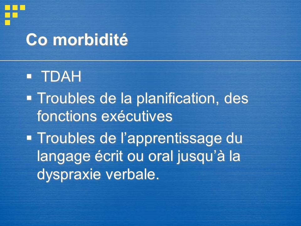 Co morbidité TDAH Troubles de la planification, des fonctions exécutives Troubles de lapprentissage du langage écrit ou oral jusquà la dyspraxie verba