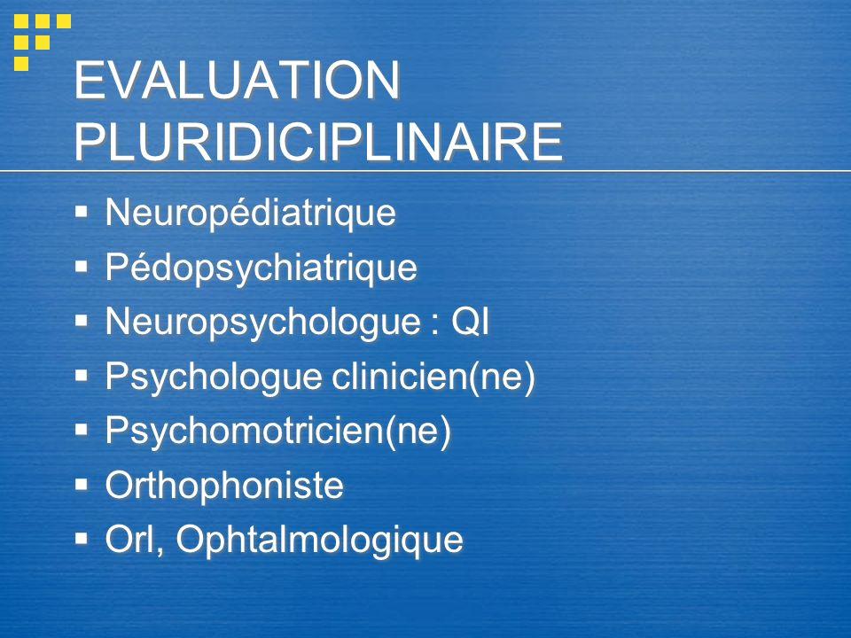 EVALUATION PLURIDICIPLINAIRE Neuropédiatrique Pédopsychiatrique Neuropsychologue : QI Psychologue clinicien(ne) Psychomotricien(ne) Orthophoniste Orl,