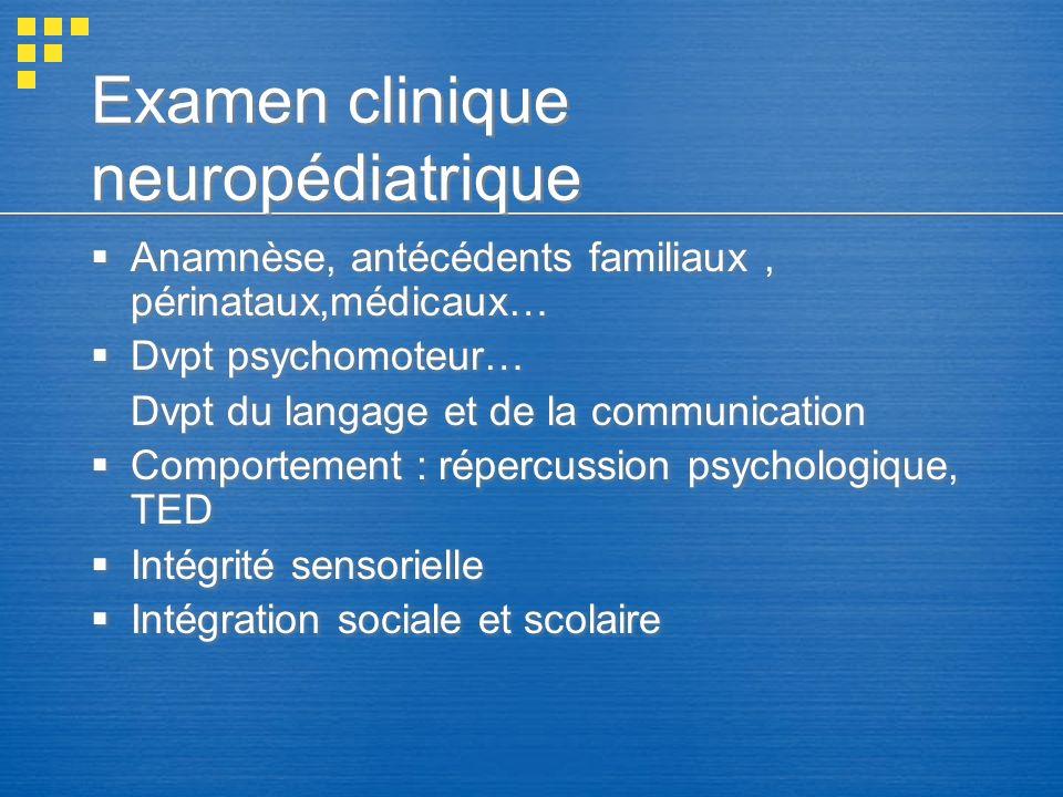 Examen clinique neuropédiatrique Anamnèse, antécédents familiaux, périnataux,médicaux… Dvpt psychomoteur… Dvpt du langage et de la communication Compo