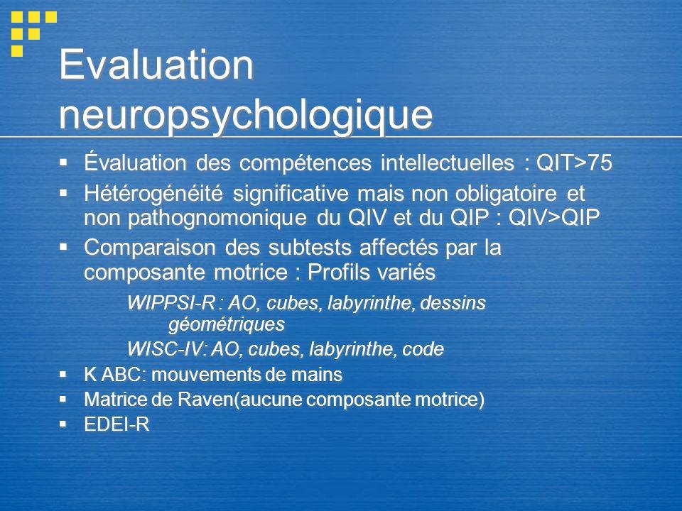 Evaluation neuropsychologique Évaluation des compétences intellectuelles : QIT>75 Hétérogénéité significative mais non obligatoire et non pathognomoni