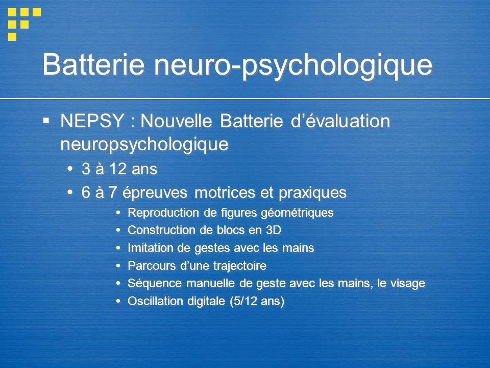 Batterie neuro-psychologique NEPSY : Nouvelle Batterie dévaluation neuropsychologique 3 à 12 ans 6 à 7 épreuves motrices et praxiques Reproduction de