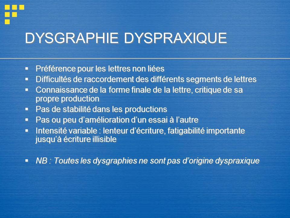 DYSGRAPHIE DYSPRAXIQUE Préférence pour les lettres non liées Difficultés de raccordement des différents segments de lettres Connaissance de la forme f