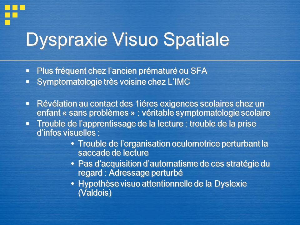 Dyspraxie Visuo Spatiale Plus fréquent chez lancien prématuré ou SFA Symptomatologie très voisine chez LIMC Révélation au contact des 1iéres exigences