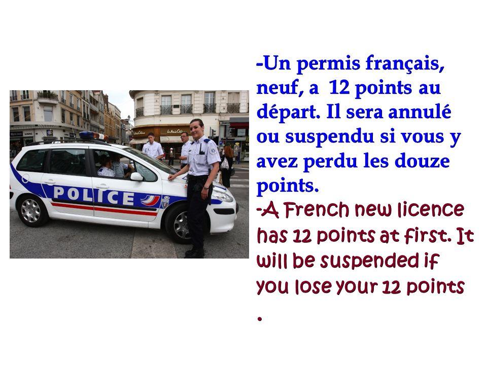 28/01/2014 -Un permis français, neuf, a 12 points au départ. Il sera annulé ou suspendu si vous y avez perdu les douze points. -A French new licence h