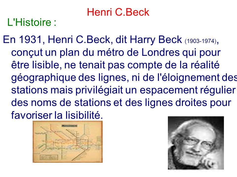 L'Histoire : En 1931, Henri C.Beck, dit Harry Beck (1903-1974), conçut un plan du métro de Londres qui pour être lisible, ne tenait pas compte de la r