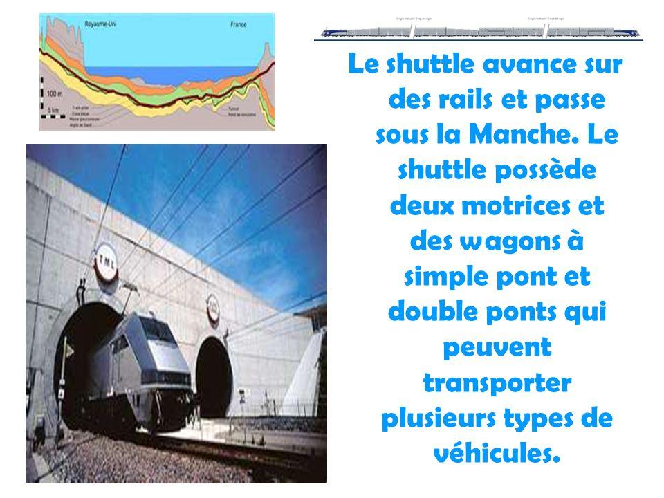 28/01/2014 Le shuttle avance sur des rails et passe sous la Manche. Le shuttle possède deux motrices et des wagons à simple pont et double ponts qui p