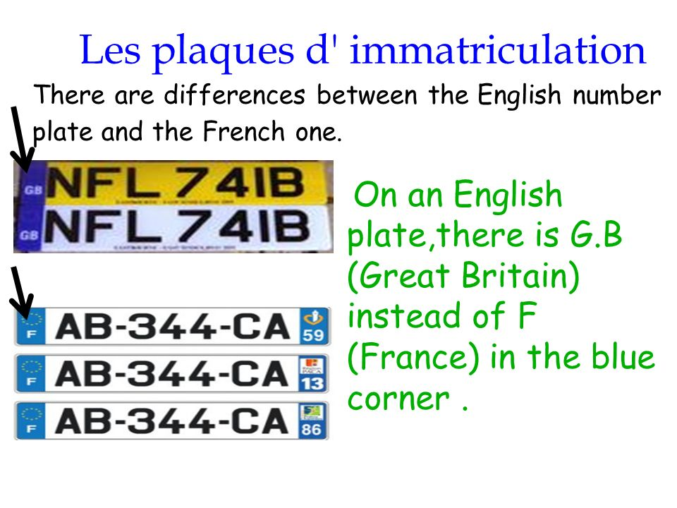 28/01/2014 Les plaques d' immatriculation On an English plate,there is G.B (Great Britain) instead of F (France) in the blue corner. There are differe
