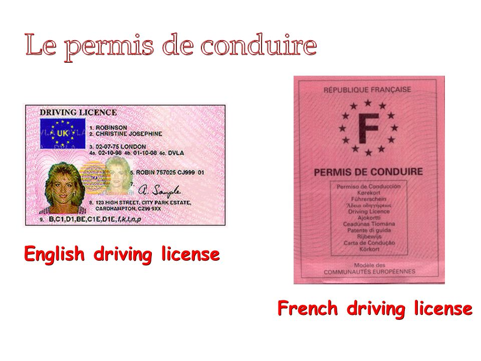 28/01/2014 English driving license French driving license