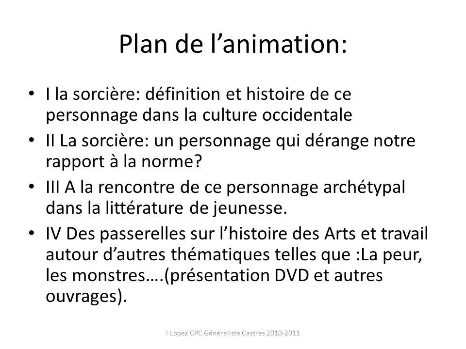 Plan de lanimation: I la sorcière: définition et histoire de ce personnage dans la culture occidentale II La sorcière: un personnage qui dérange notre