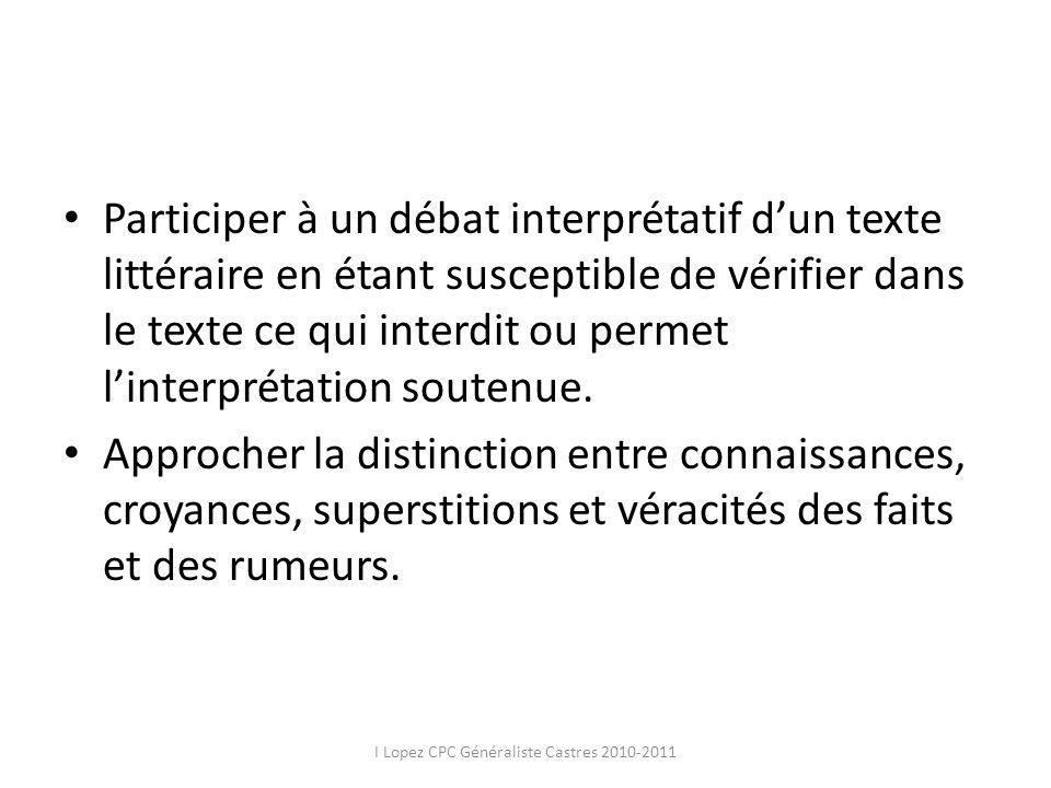 Participer à un débat interprétatif dun texte littéraire en étant susceptible de vérifier dans le texte ce qui interdit ou permet linterprétation sout