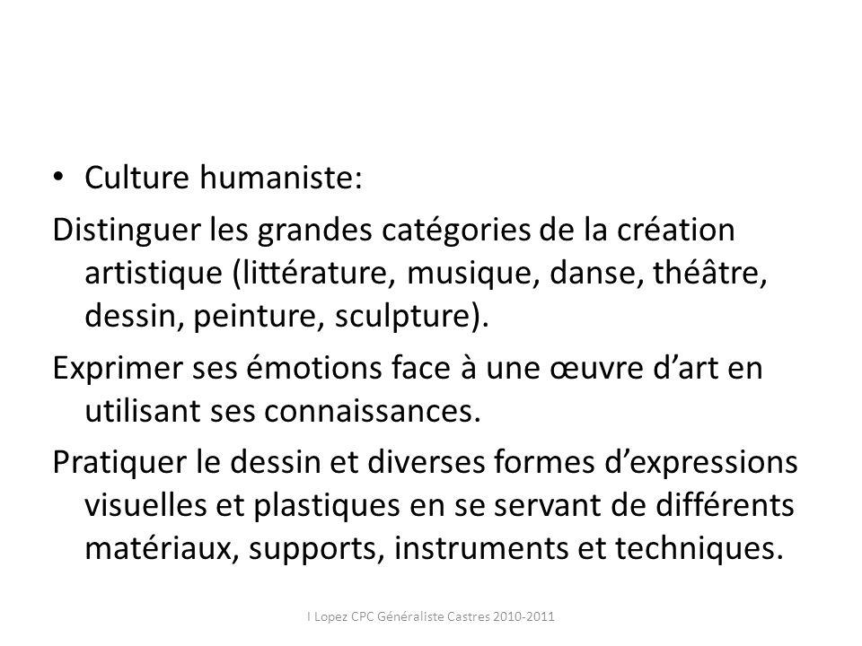 Culture humaniste: Distinguer les grandes catégories de la création artistique (littérature, musique, danse, théâtre, dessin, peinture, sculpture). Ex