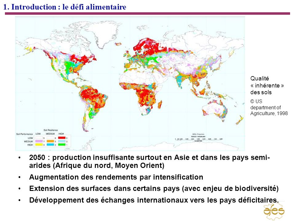 1. Introduction : le défi alimentaire 2050 : production insuffisante surtout en Asie et dans les pays semi- arides (Afrique du nord, Moyen Orient) Aug