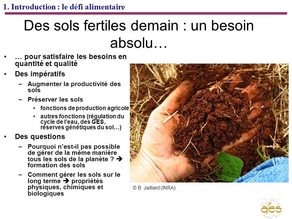 1. Introduction : le défi alimentaire Des sols fertiles demain : un besoin absolu… … pour satisfaire les besoins en quantité et qualité Des impératifs