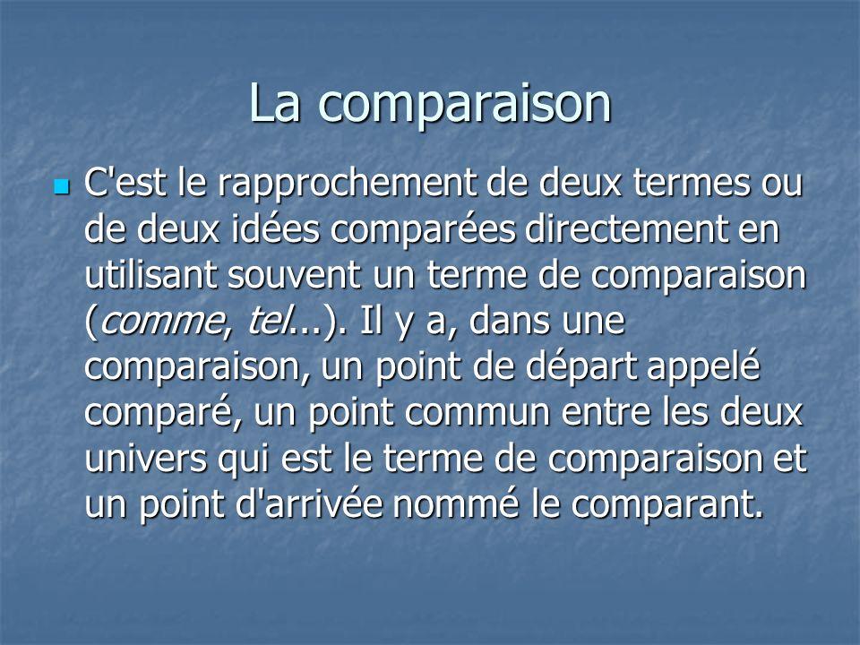 La comparaison C'est le rapprochement de deux termes ou de deux idées comparées directement en utilisant souvent un terme de comparaison (comme, tel..