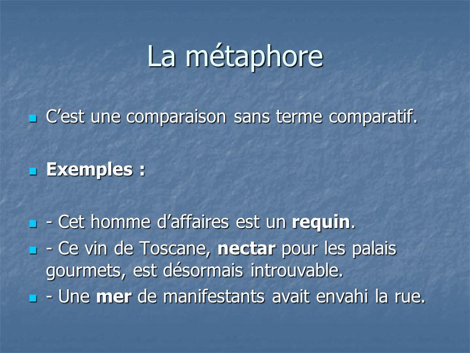 La métaphore Cest une comparaison sans terme comparatif. Cest une comparaison sans terme comparatif. Exemples : Exemples : - Cet homme daffaires est u