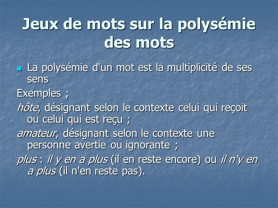 Jeux de mots sur la polysémie des mots La polysémie d'un mot est la multiplicité de ses sens La polysémie d'un mot est la multiplicité de ses sens Exe
