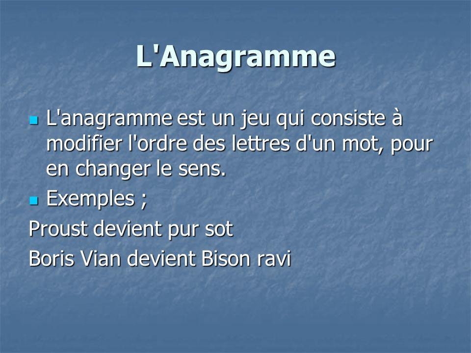 L'Anagramme L'anagramme est un jeu qui consiste à modifier l'ordre des lettres d'un mot, pour en changer le sens. L'anagramme est un jeu qui consiste