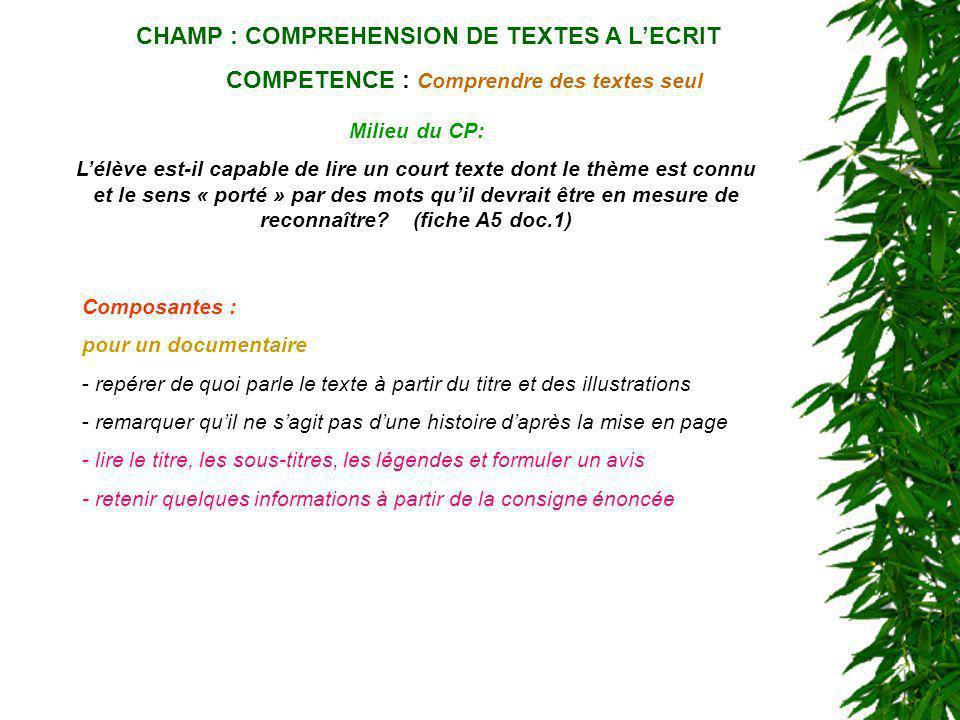 CHAMP : COMPREHENSION DE TEXTES A LECRIT COMPETENCE : Comprendre des textes seul Milieu du CP: Lélève est-il capable de lire un court texte dont le th