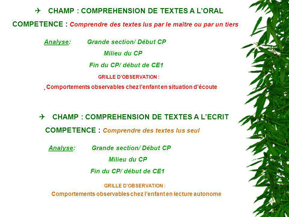 CHAMP : COMPREHENSION DE TEXTES A LORAL COMPETENCE : Comprendre des textes lus par le maître ou par un tiers Grande section/ Début CP: Lélève est-il capable de manifester quil comprend une « histoire » lue par le maître et adaptée à son âge .