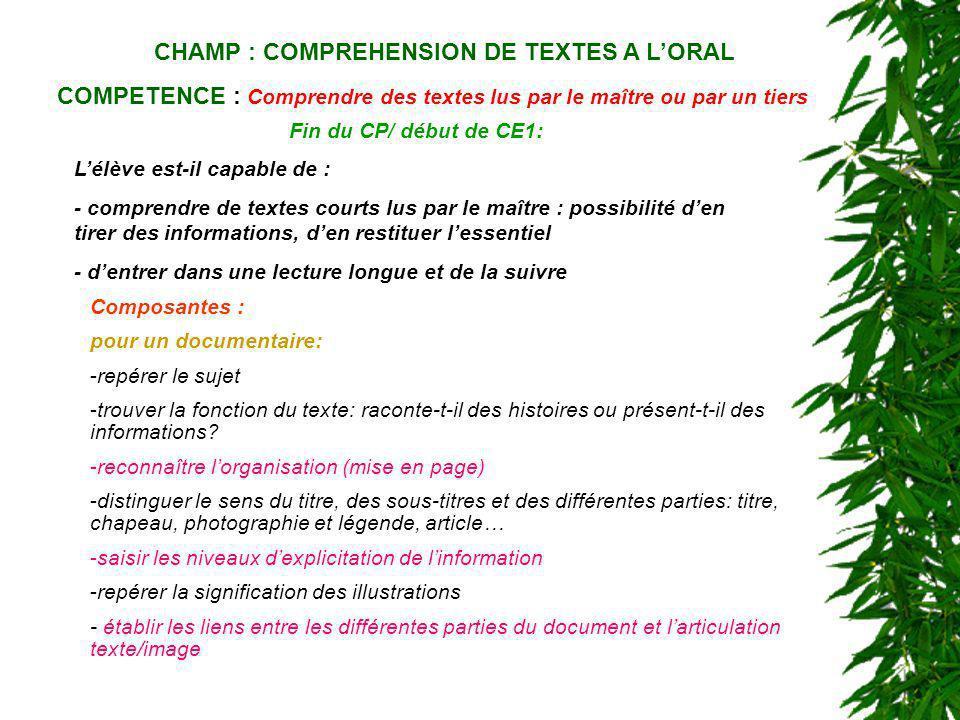 CHAMP : COMPREHENSION DE TEXTES A LORAL COMPETENCE : Comprendre des textes lus par le maître ou par un tiers Fin du CP/ début de CE1: Lélève est-il ca