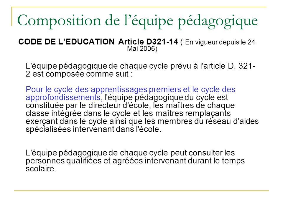 Composition de léquipe pédagogique CODE DE LEDUCATION Article D321-14 ( En vigueur depuis le 24 Mai 2006) L équipe pédagogique de chaque cycle prévu à l article D.