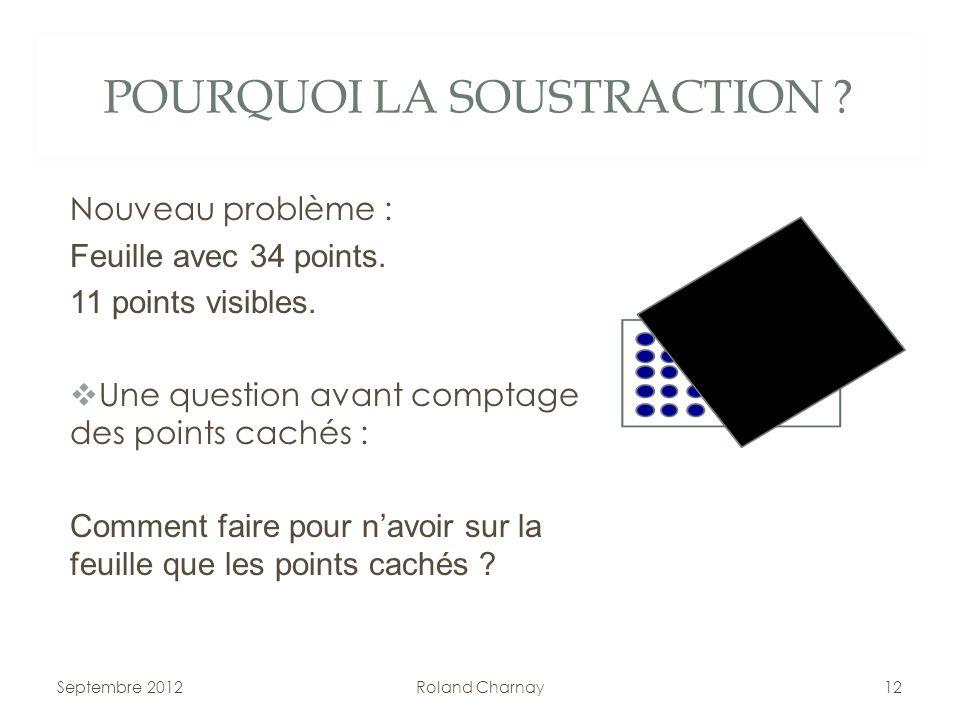 POURQUOI LA SOUSTRACTION ? Nouveau problème : Feuille avec 34 points. 11 points visibles. Une question avant comptage des points cachés : Comment fair